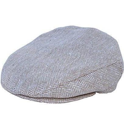 Grey Blue Tan Linen Baby Boy's Hat Vintage Driver Caps