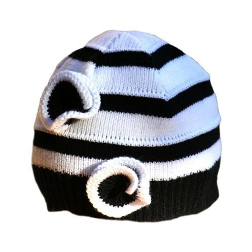Baby Girl's Stripe Beanie with Flowers