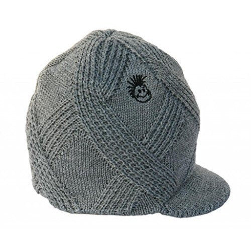 a27716389 Knuckleheads - Gray Boy's Baby Visor Beanie Hat with Stripes Detail