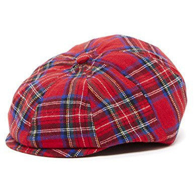 Red Plaid Kid's Newsboy Cap