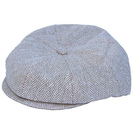 Tan Herringbone Pageboy Flat Ivy Newsboy Golf Cap