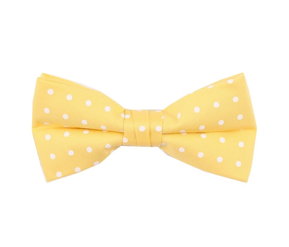 Yellow Polka Dotted Birthday Bow Tie