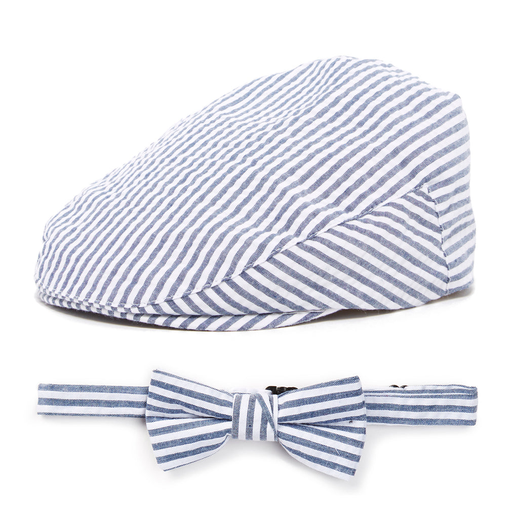 Navy Stripes Driver Hat and Bow Tie Set