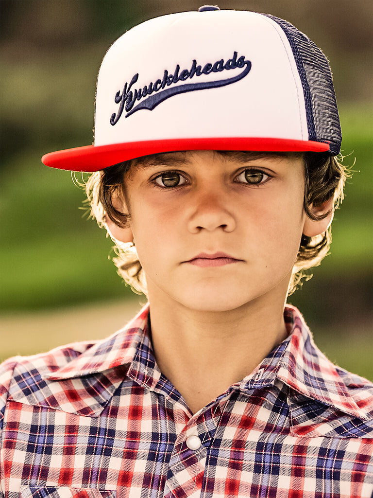Red and Navy Knuckleheads Trucker Hat