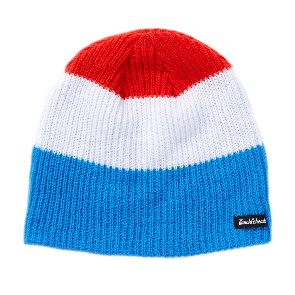 Stripe Knitted Winter Ski Beanie Red