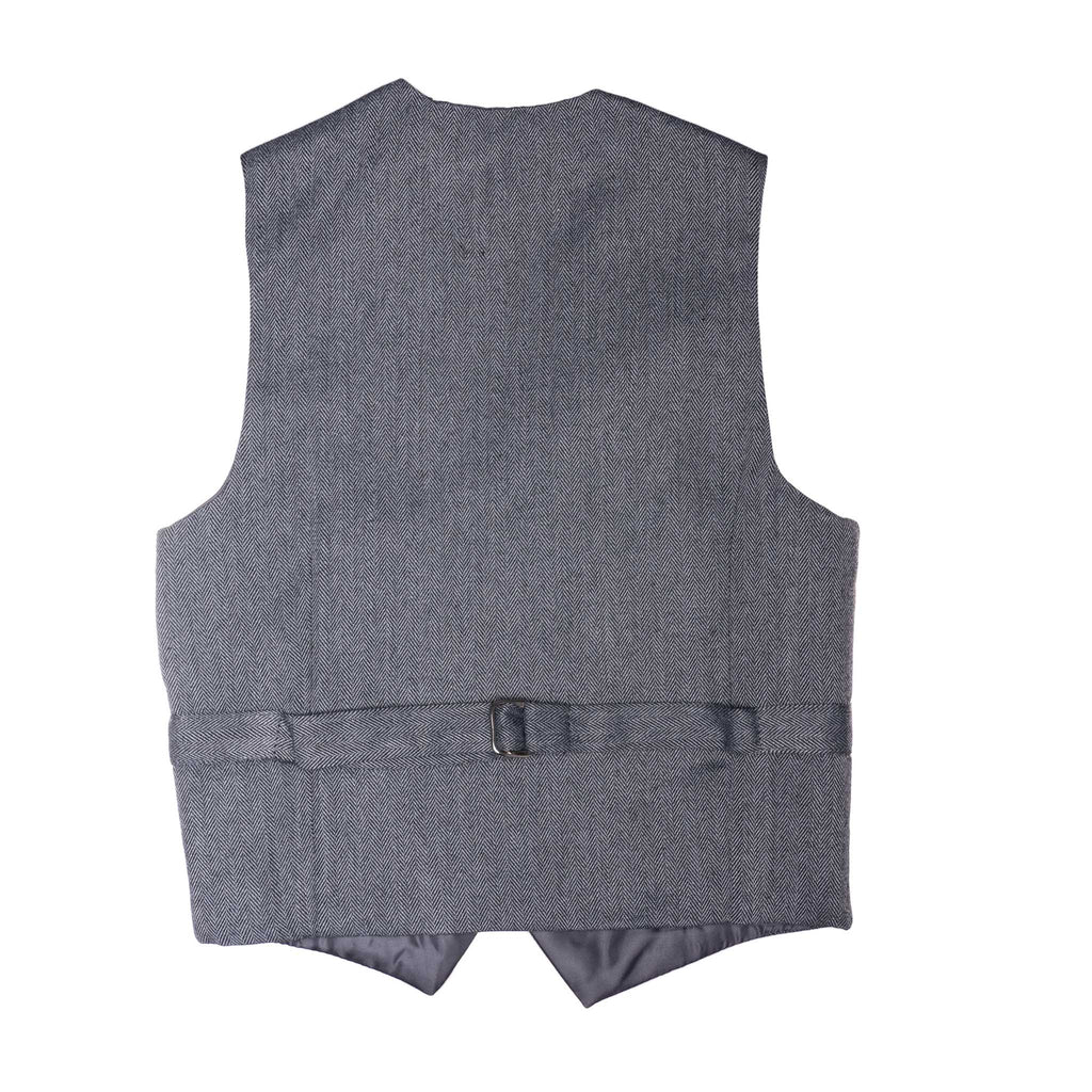 Grey Herringbone Born To Love Kids Vest Wedding Fashion