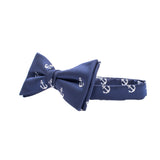Navy and White Anchors Kids Bow Tie with Motifs