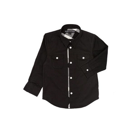 Black Button Up Baby Shirt