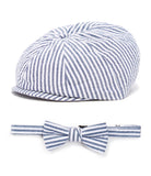 Navy Stripes Newsboy Hat and Bow Tie Set