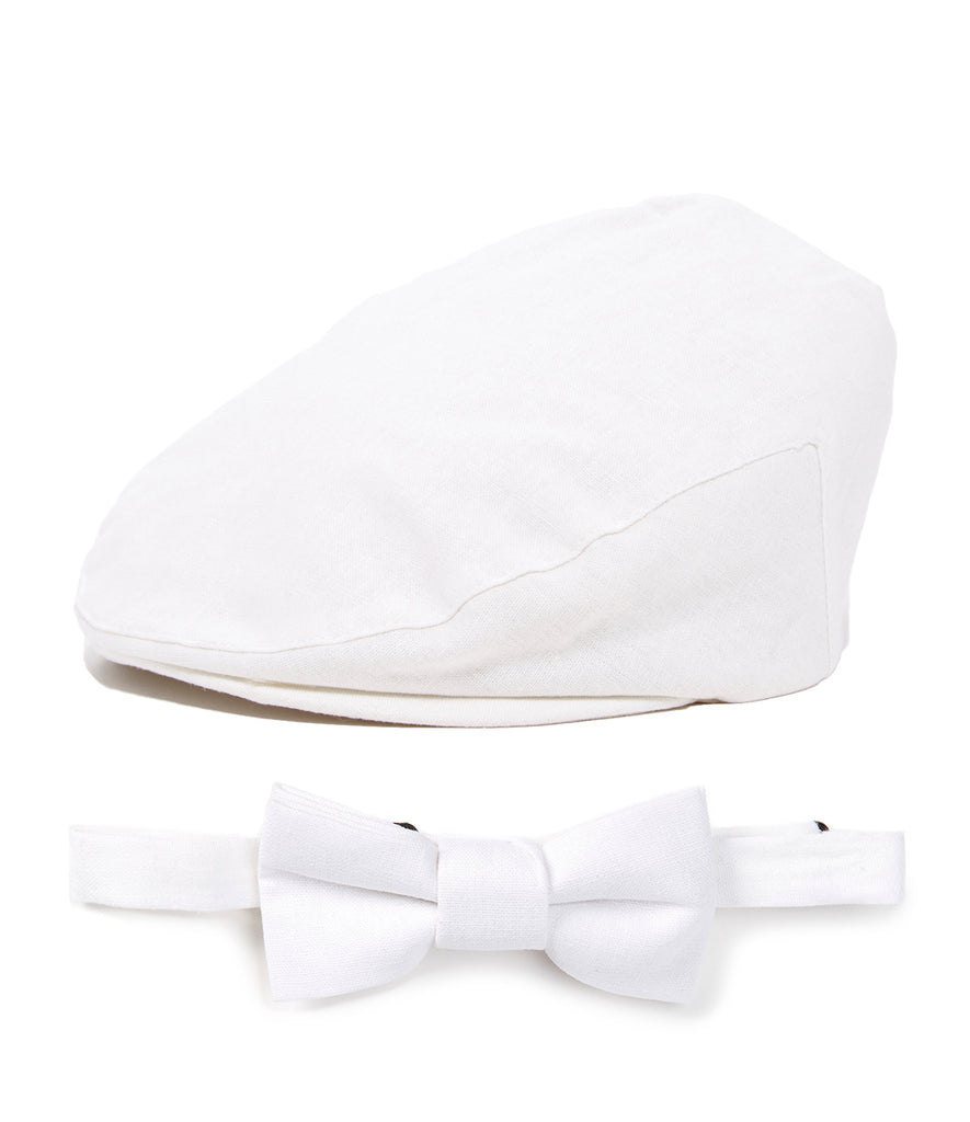 White Driver Cap and Bow Tie Set