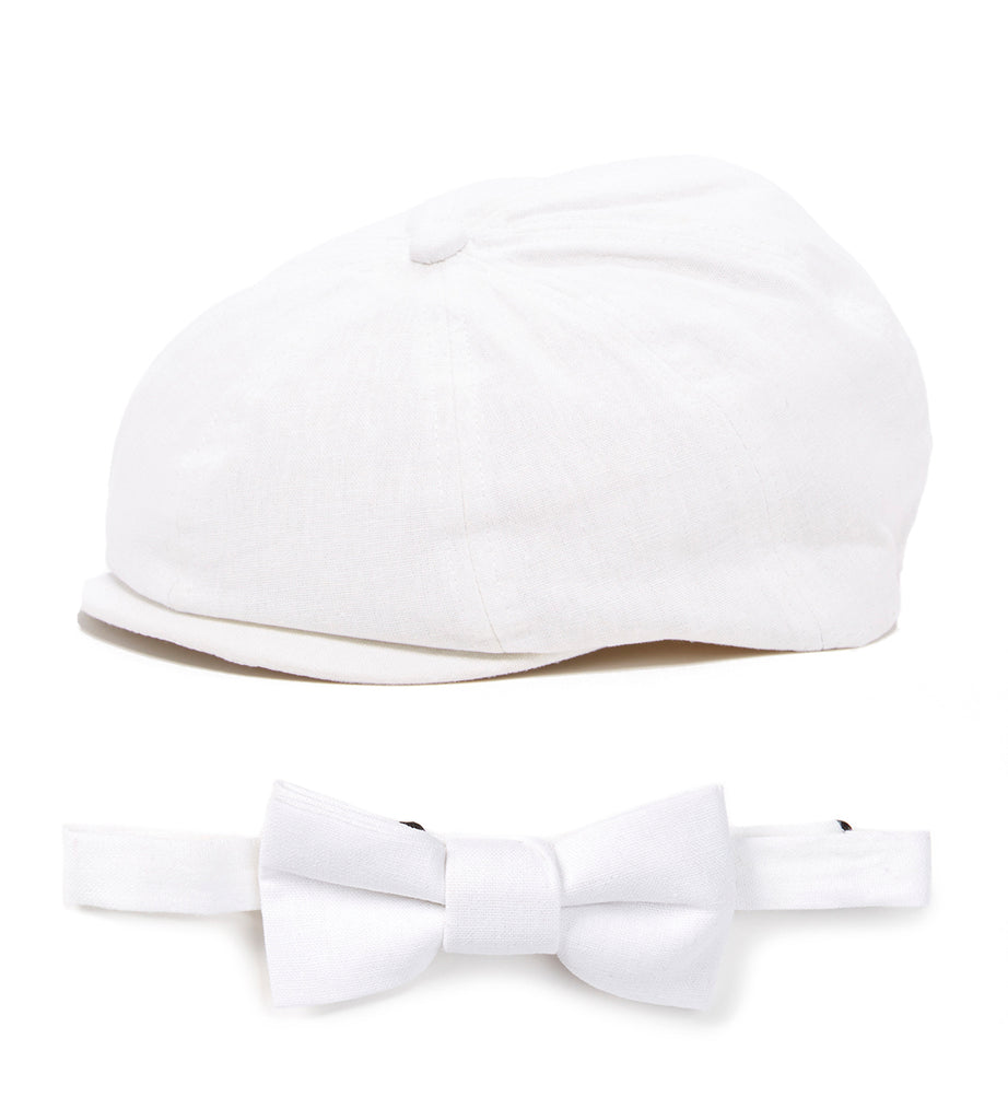 White Newsboy Cap and Bow Tie Set