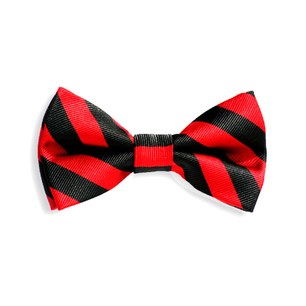 Black with Red Stripe Baby Kids Bow Tie