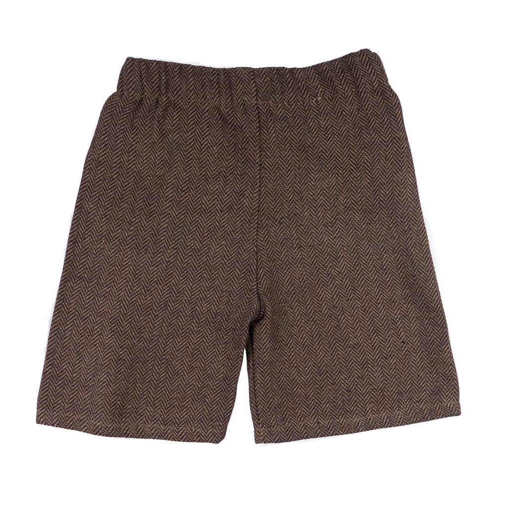 Brown Baby Boy Ring Bearer Shorts - Born To Love Wedding Outfit