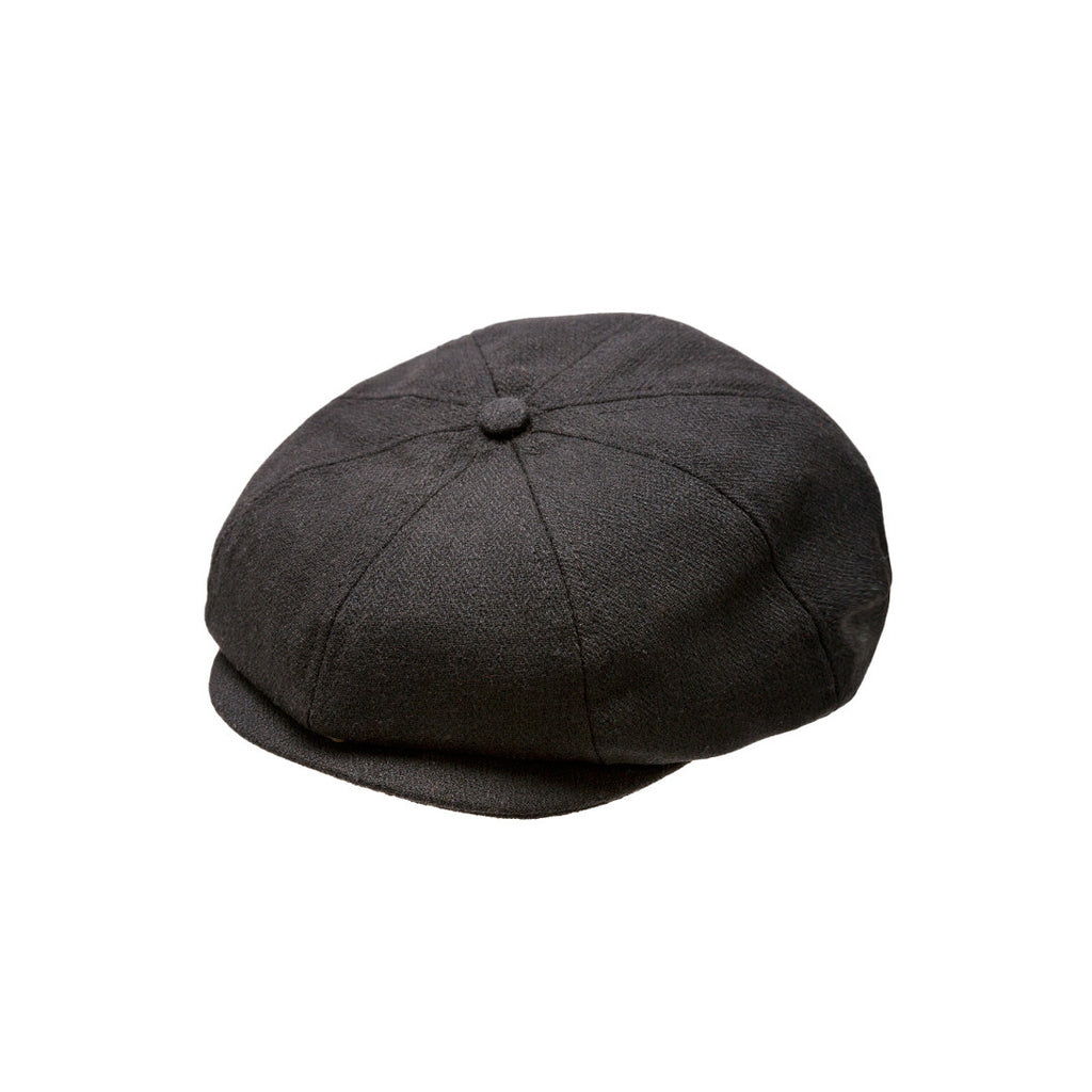 Black Herringbone Newsboy Cap