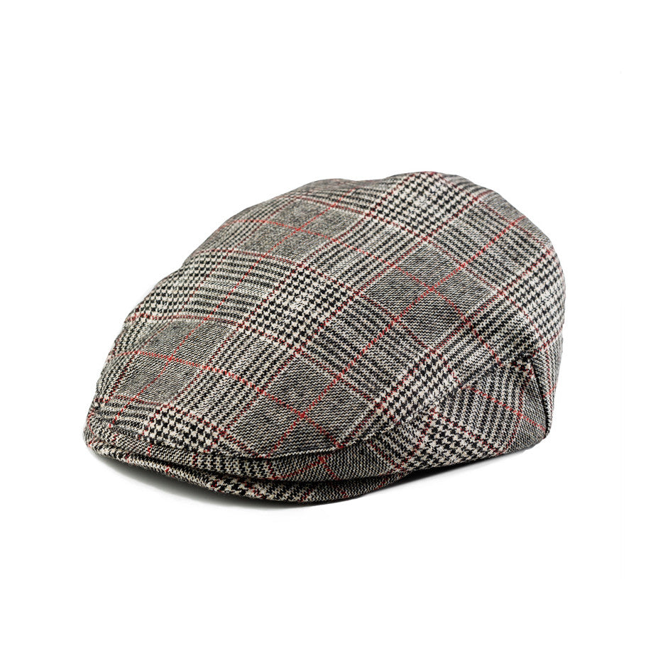 Gray Houndstooth with Brown Stripes Driver Cap