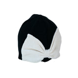 Black Baby  Beanie Hat with Bow