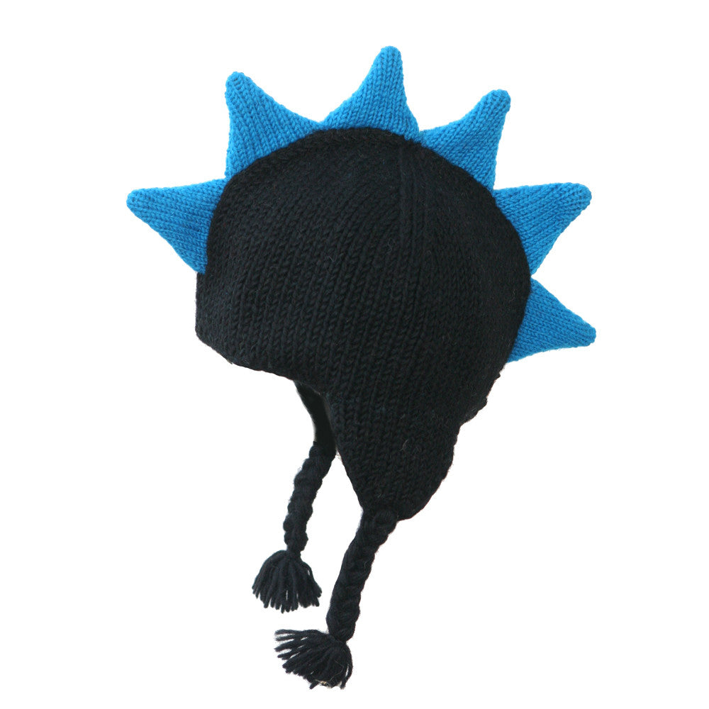 Black Mohawk Hat with Blue Spikes