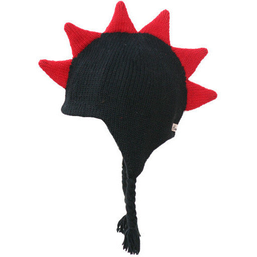 Black Mohawk Hat with Red Spikes and Skull
