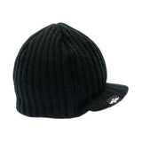 Black Rib Visor Beanie with Tag