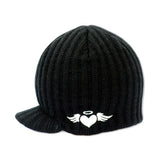 Black Rib Visor Beanie with embroidery
