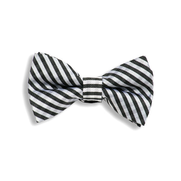 Black and Grey Medium Stripe Baby Kids Bow Tie