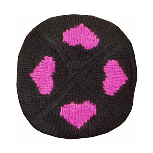 Black with Pink Hearts Beret