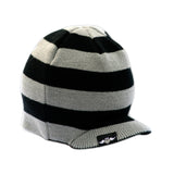 Black and Gray Stripe Beanie with Tag Baby Hat