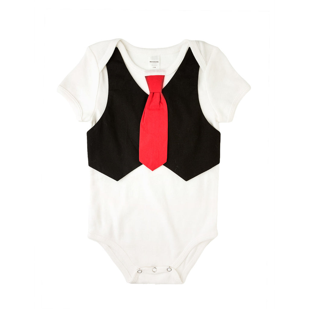 Black Vest Red Tie Bodysuit