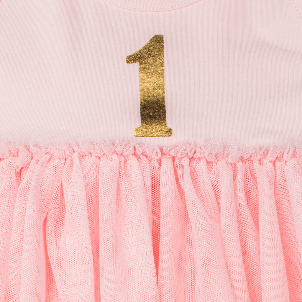 Pink & Gold Birthday Dress With Ruffle Skirt For Girls
