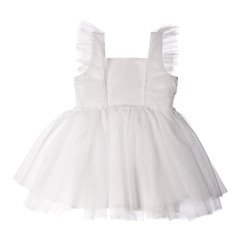 WHITE TULLE DRESS WITH RUFFLES FOR GIRLS