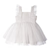 WHITE TULLE GIRLS DRESS WITH RUFFLES FLOWER GIRLS BALLET PRINCESS PAGEANT TEA PARTY