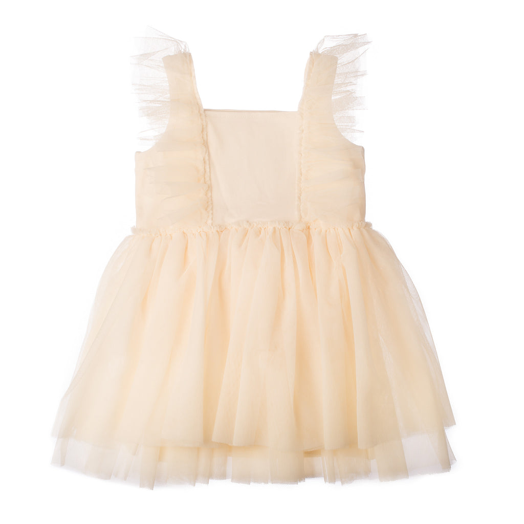 Off White Tulle Girls Dress With Ruffles Flower Girls Ballet