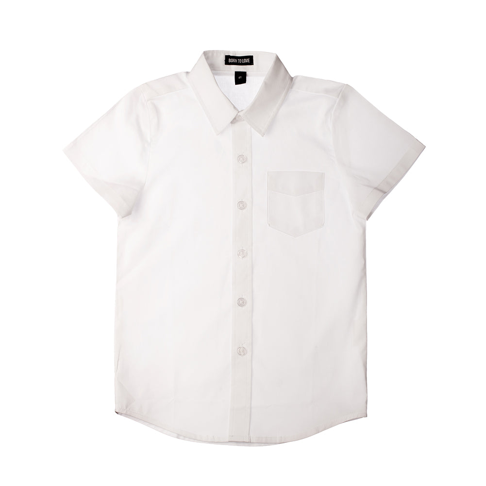 Boy's White Button Down Short Sleeve Shirt