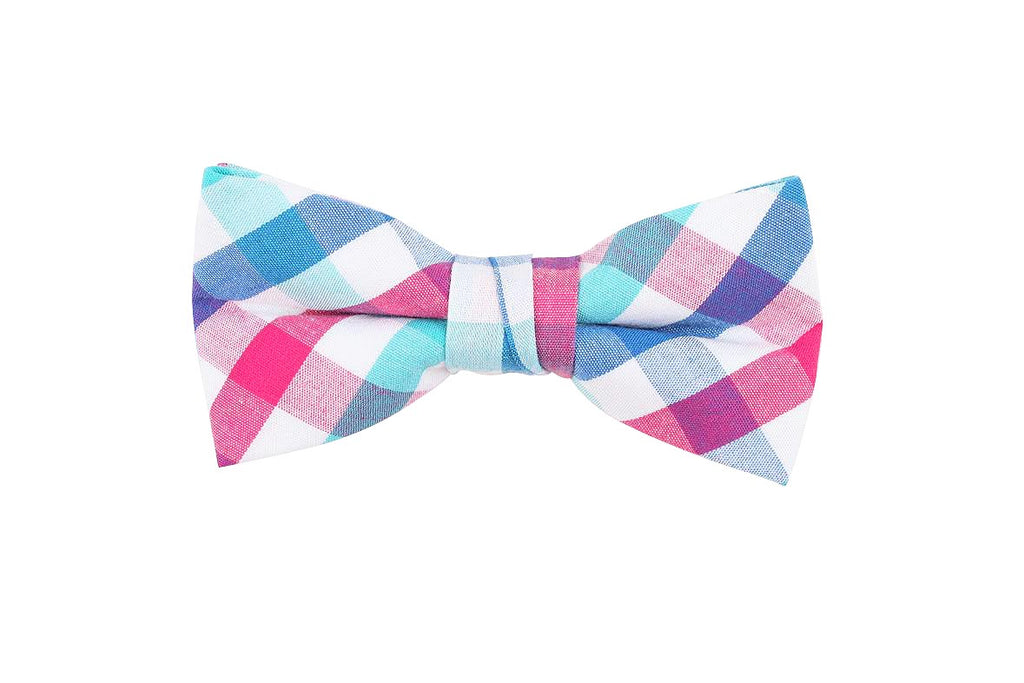 Pink Blue Checkered Bow Tie
