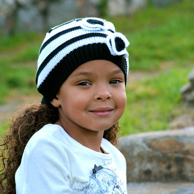 Black and White Stripe Beanie with Flowers