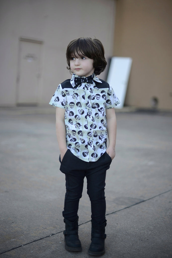 Black and White Skulls Kids Bow Tie with Motifs