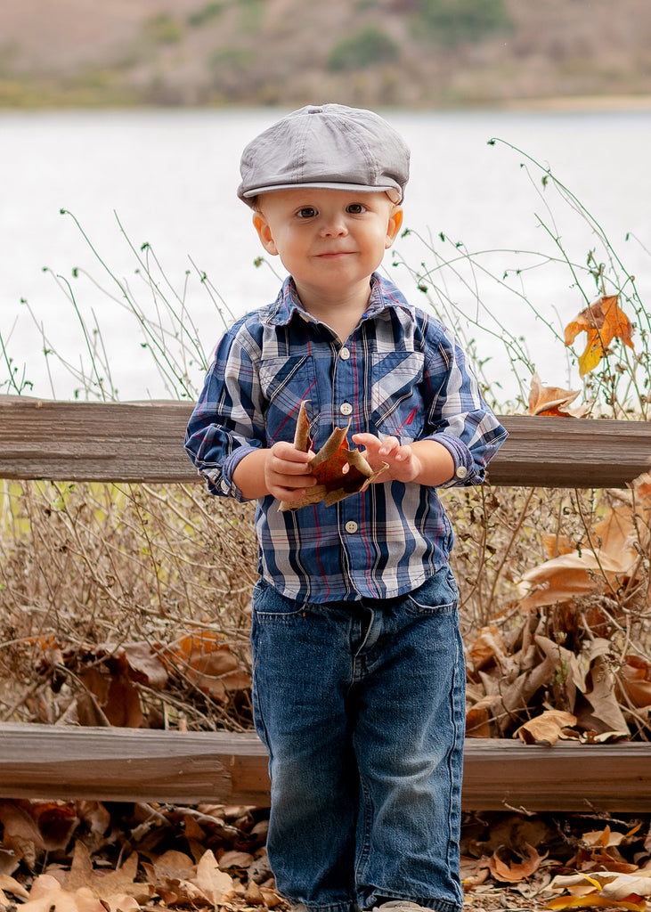 Tan Linen Boy's Ring Bearer Pageboy Flat Ivy Newsboy Golf Cap