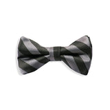 Dark Gray Stipe Baby Kids Bow Tie