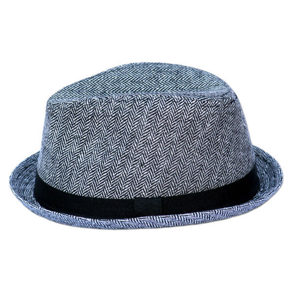 Gray Herringbone Fedora with Black Band