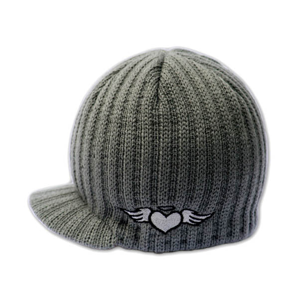Gray Rib Beanie with Embroidery