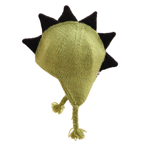 Green Mohawk Hat with Brown Spikes