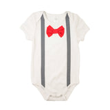 Grey Suspenders Red Bowtie Bodysuit