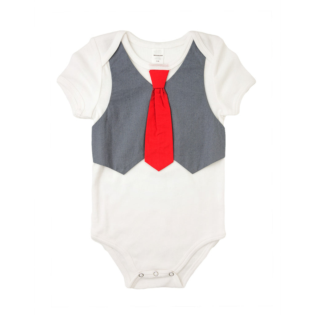 Grey Vest Red Tie Bodysuit