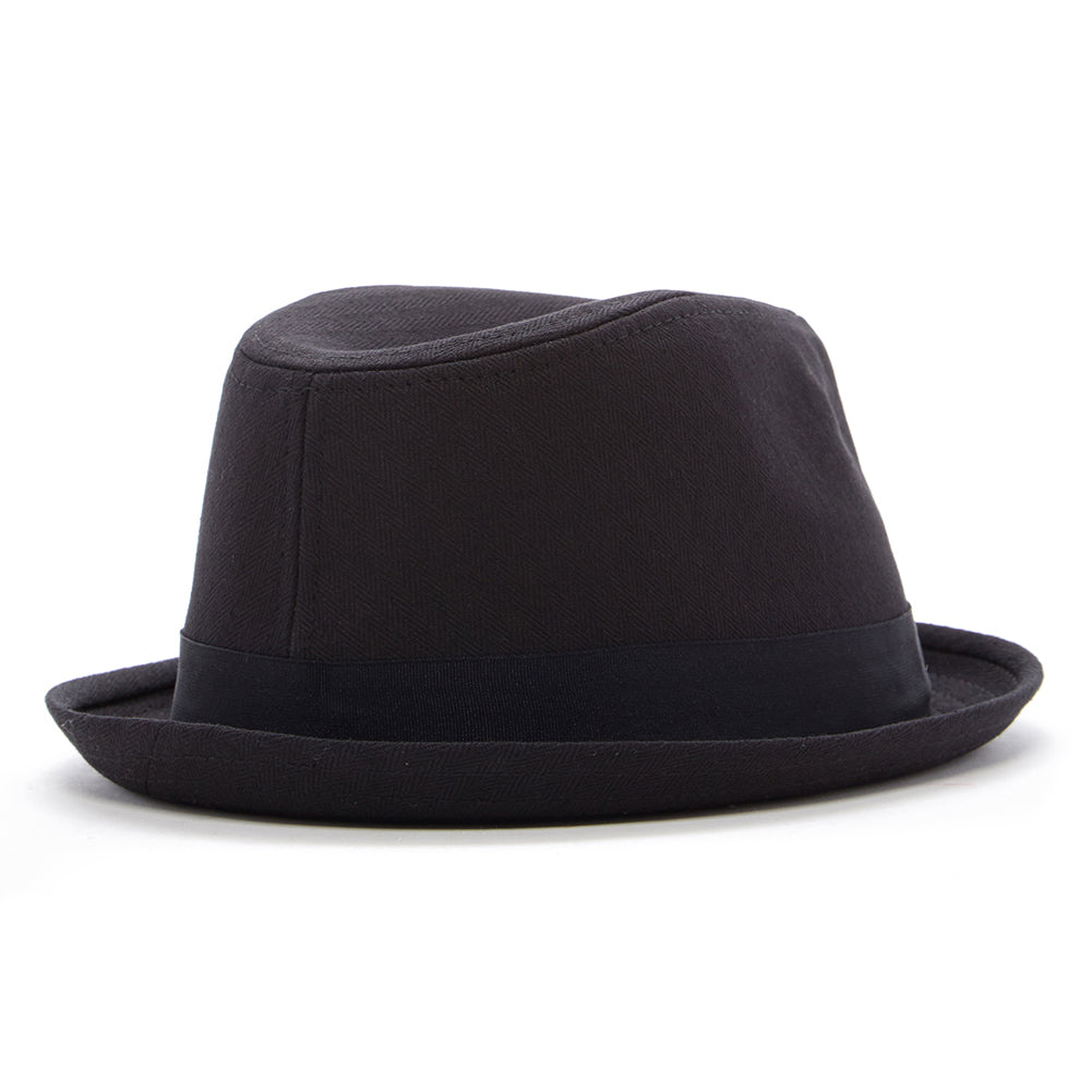 Black Fedora Hat with Skull