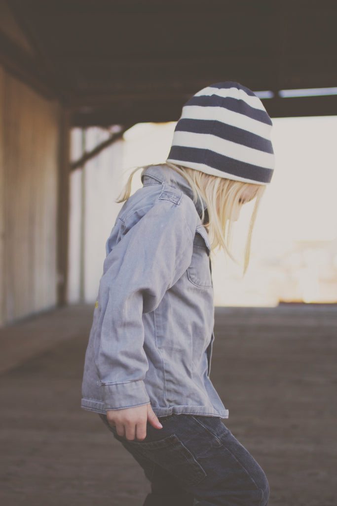 Gray and White Stripe Beanie