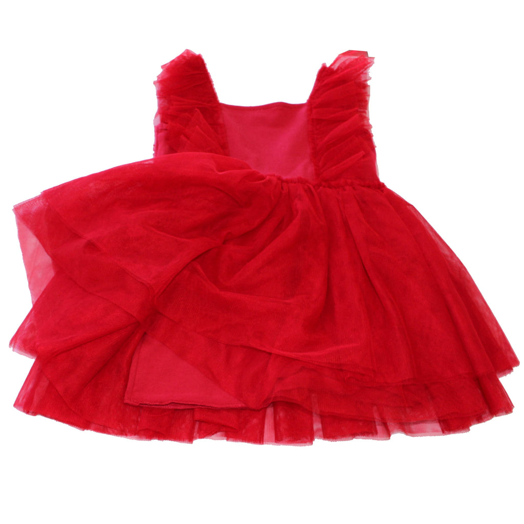 Red TULLE GIRLS DRESS WITH RUFFLES FLOWER GIRLS BALLET PRINCESS PAGEANT TEA PARTY