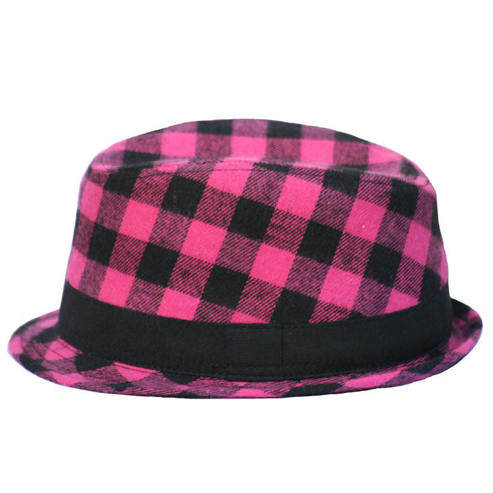 Pink and Black Fedora with Black Stripe