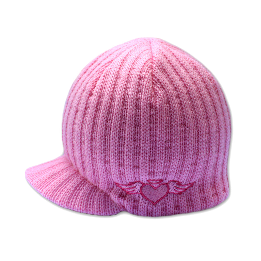 Pink Rib Visor Beanie with Embroidery