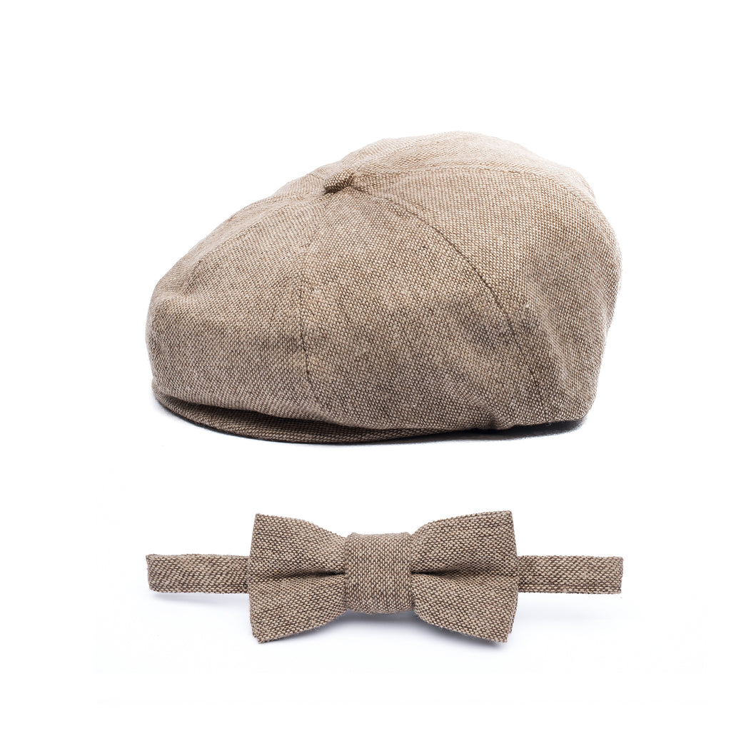 Tan Herringbone 2 Piece Bow Tie and Newsboy Hat Ring Bearer Special Occasion