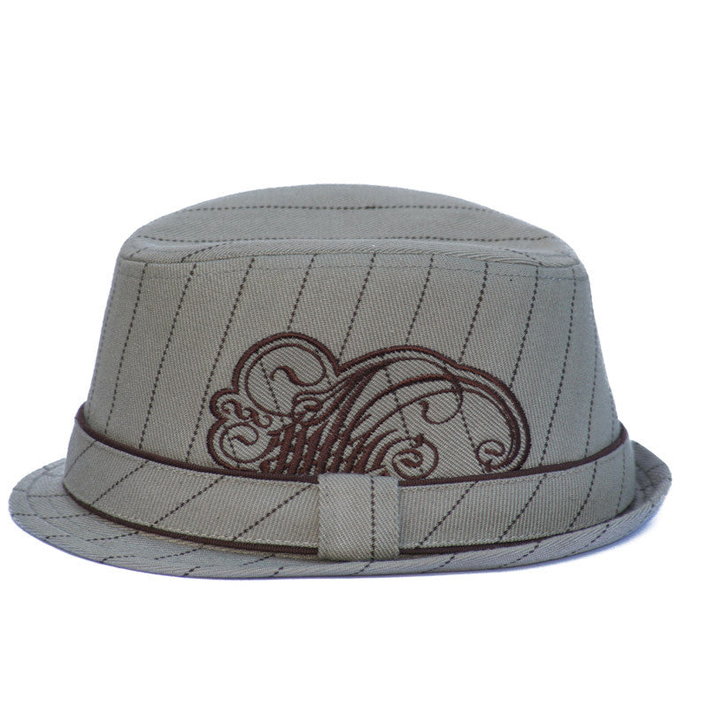 Tan Fedora hat with Embroidery